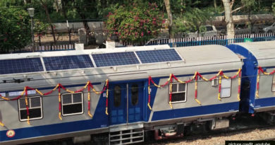 Train with solar panels