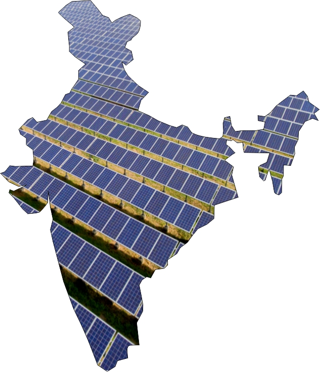 Solar panels in the shape of India