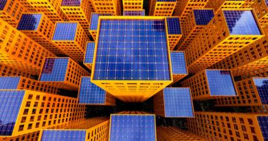 rooftop solar panel yellow buildings