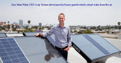 Zero Mass Water CEO Cody Friesen showcases his Source panels which extract water from the air