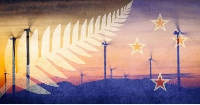 New Zeland Flag With Wind Turbines