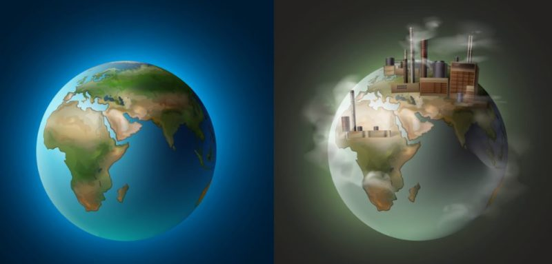 Earth before and during pollution