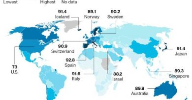 Bloomberg World's healthiest countries Map