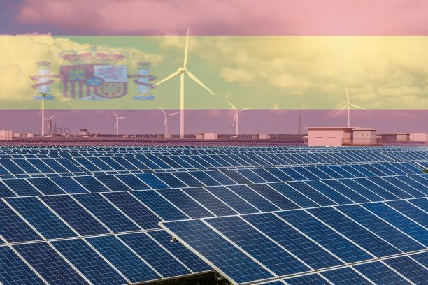 Spain Renewable energy with windmills and solar panels