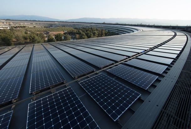 Apple HQ in California with an Array of Solar Panels