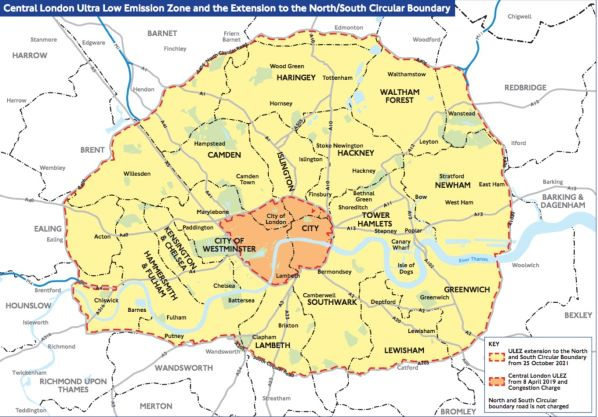 ULEZ Map Of London