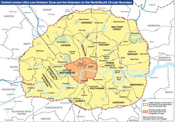 ULEZ Map Of London