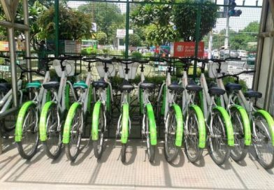Bicycle renting station near Delhi Metro