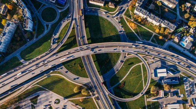Arial view of roads, highway