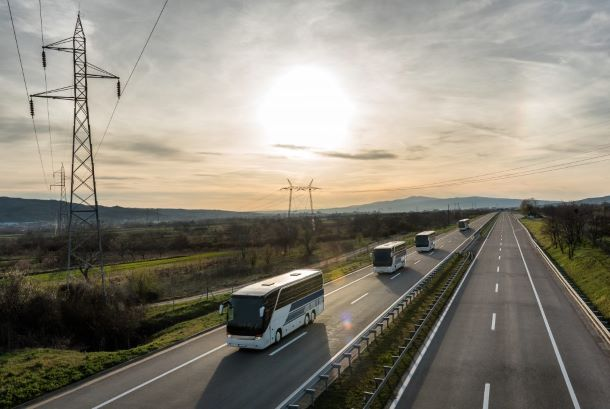 Buses on highway corridors