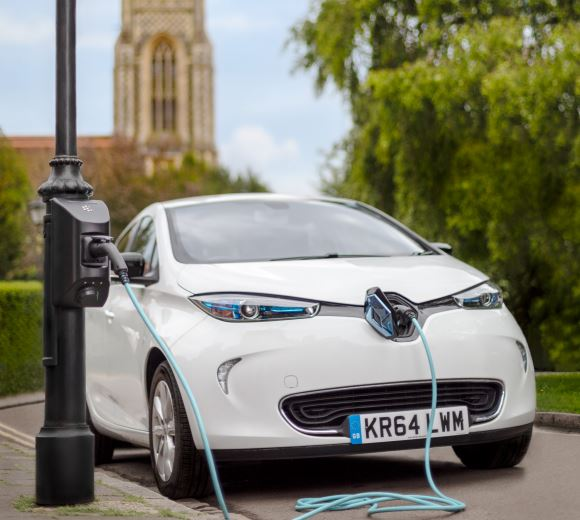 Electric Car Charging on Lamp Post