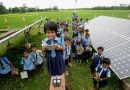 School children and solar Panel