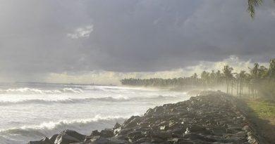 Sea Wall at Kollam Beach Kerala