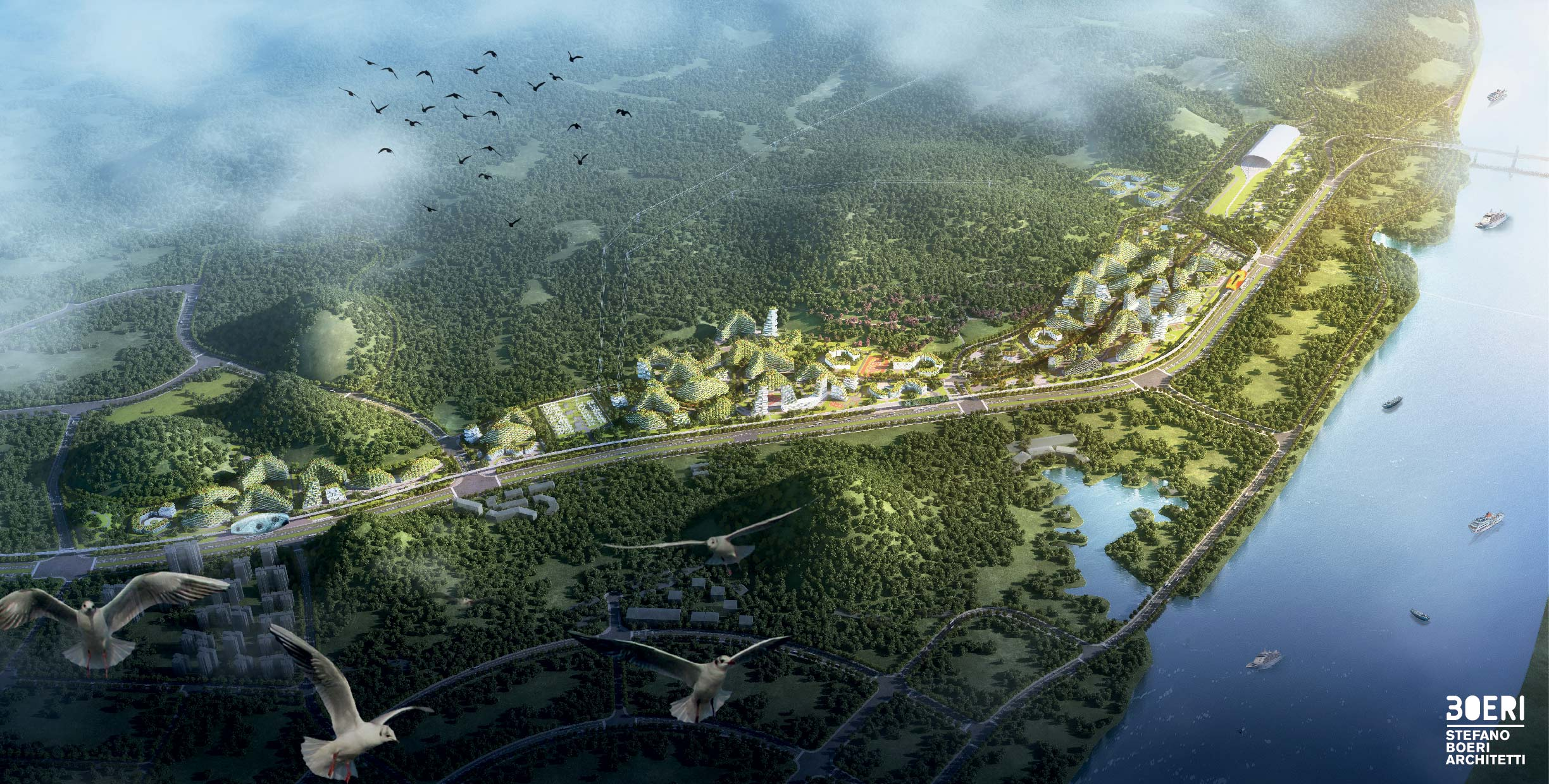 Liuzhou Forest city bird view