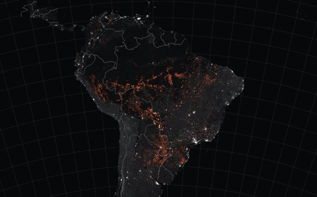 Nasa image of amazon wildfires