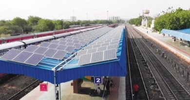 railway station platform with solar panels