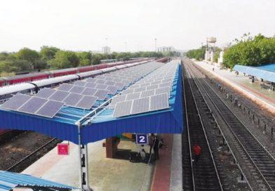 railway station platform with solar panels