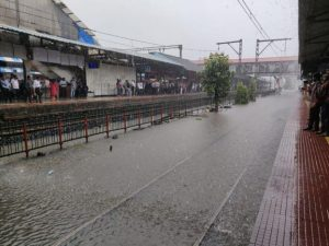 Thane Rail Tracks are under water