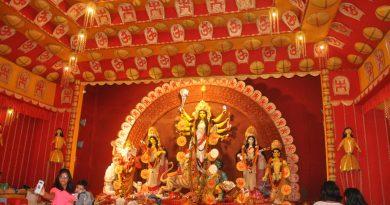 Eco-friendly Durga Puja Pandal in Delhi's Dwarka.