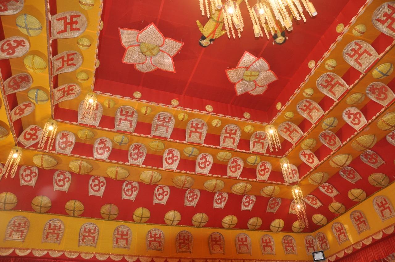 Eco-friendly Durga Puja Pandal in Delhi's Dwarka. Pic: Anirban Roy